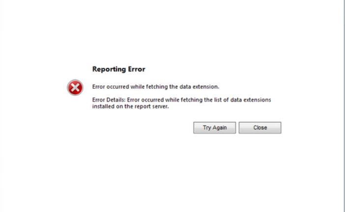 """Error occurred while fetching the list of data extension"""